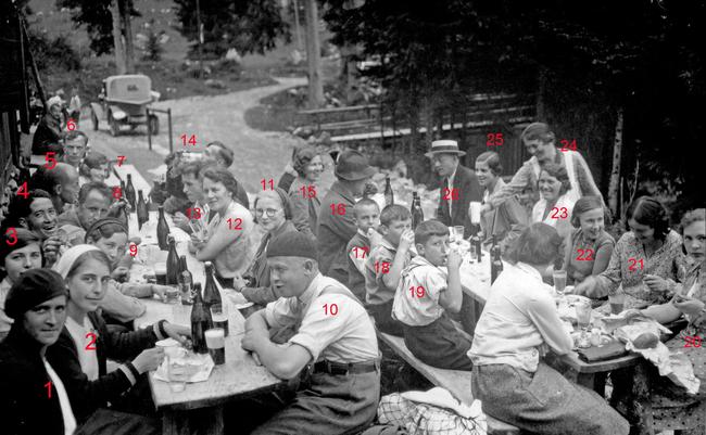 Heitere Gesellschaft vor der Wirtschaft zum Obersee anno ca. 1932 (Foto Paul Stähli)