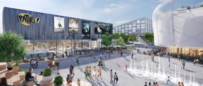 Werkbild Firma Halter AG - Mall of Switzerland links Kinotempel, rechts Einkaufstempel