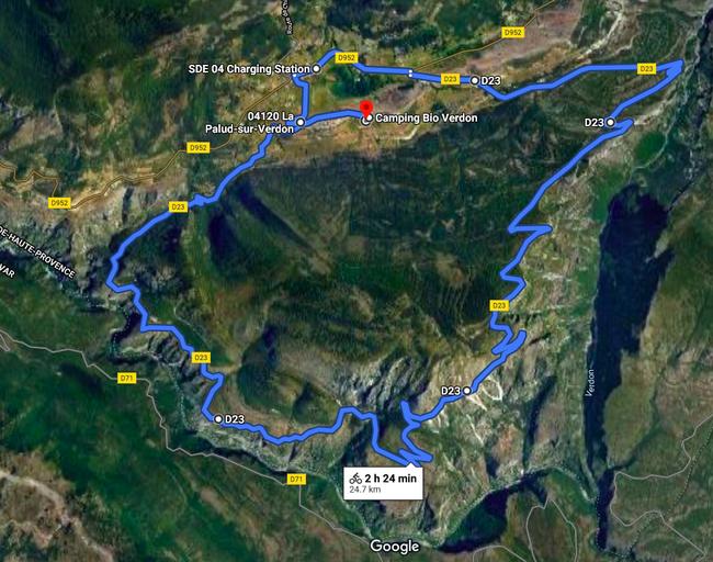 Verdonschlucht - Route des Crêtes mit dem Fahrrad. Quelle: Google Maps