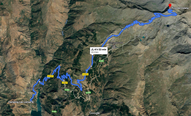 "Route Camping ""Las Lomas"" auf den Pico del Veleta (Quelle: Google Maps)"