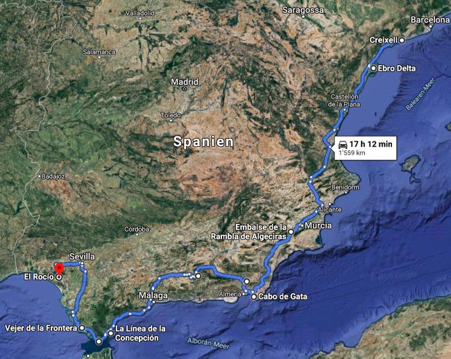 Gefahrene Route in Spanien. Quelle: Google Maps