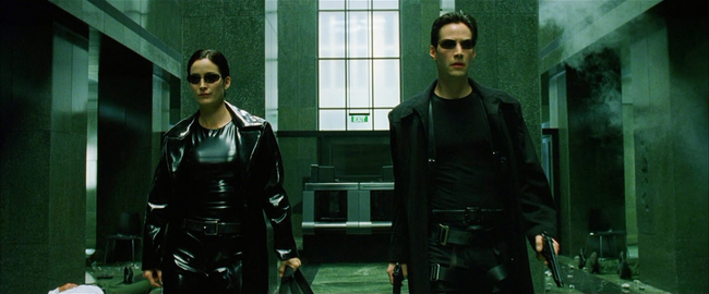 Carrie-Anne Moss & Keanu Reeves in The Matrix