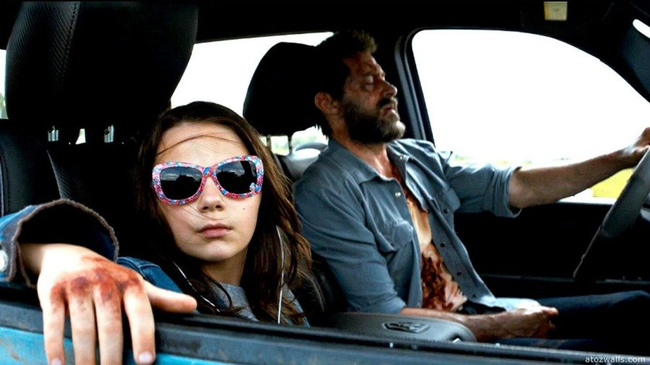 Dafne Keen & Hugh Jackman in Logan