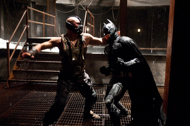 Tom Hardy & Christian Bale in The Dark Knight Rises