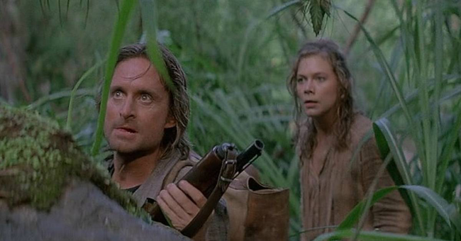 Michael Douglas & Kathleen Turner in Romancing the Stone