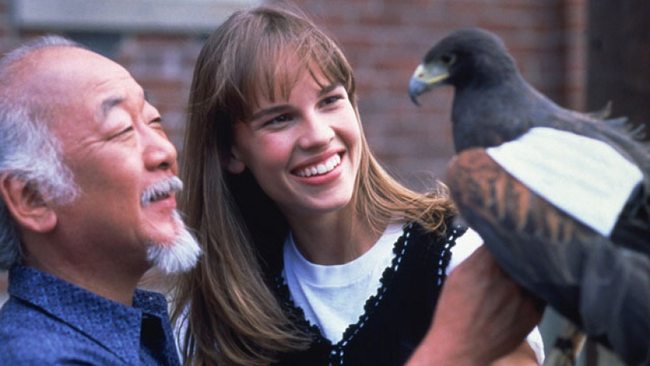Noriyuki 'Pat' Morita & Hilary Swank in The Next Karate Kid