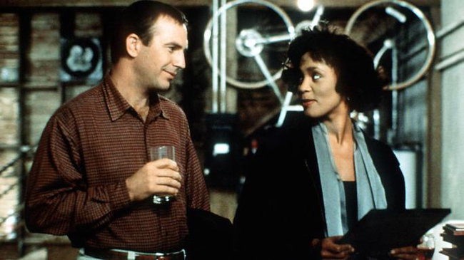Kevin Costner & Whitney Houston in The Bodyguard