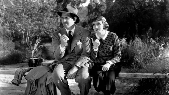 Clark Gable & Claudette Colbert in It Happened One Night