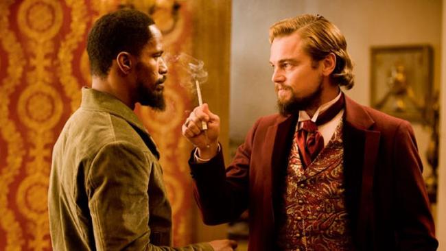 Jamie Foxx & Leonardo DiCaprio in Django Unchained