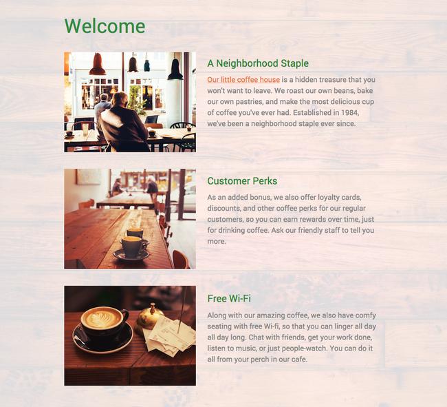 Ejemplo de página web con un estilo consistente.