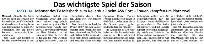 Artikel im Miesbacher Merkur am 9.2.2019 - Zum Vergrößern klicken