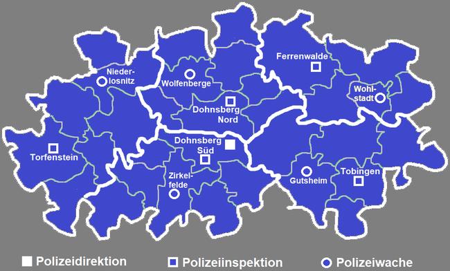 Polizeidienststellen im Landkreis, die weißen Linien markieren das jeweilige Revier einer Inspektion