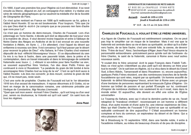 Feuille paroissiale recto