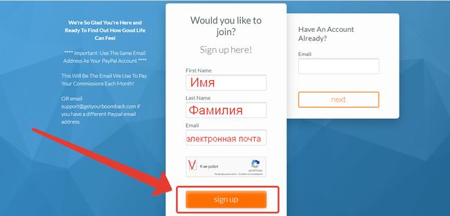 Автоматически открывается сайт для регистрации нового партнера, на котором проходим простую регистрацию. И нажимаем кнопку sign up