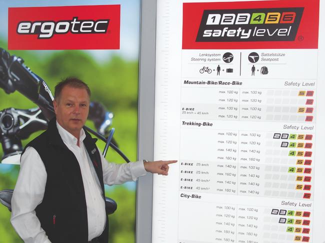 Wilhelm Humpert erklärt das ergonomische Konzept der Ergotec-Produkte.