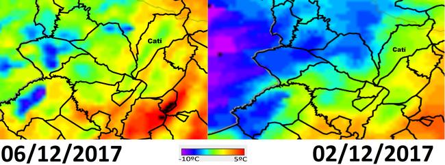 Imatges de la sonda MODIS integrada en el satèl·lit Terra de la NASA per als dies 2 i 6 de desembre