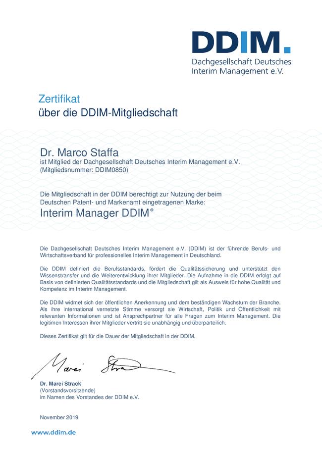 Zertifikat des DDIM über Mitgliedschaft