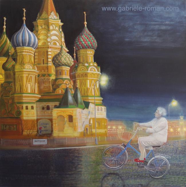 Basilius-Kathedrale: Im Hintergrund ein Sprayer, im Vordergrund eine alte Frau auf dem Fahrrad.