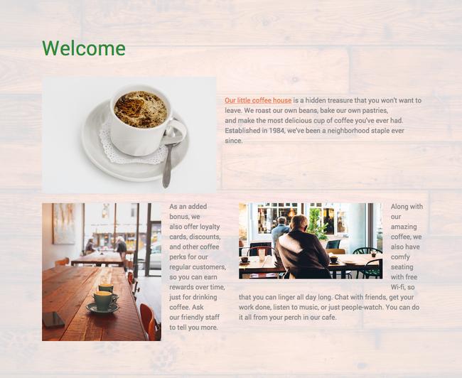 Sur cette page d'accueil, les images ont des tailles, styles et formats différents