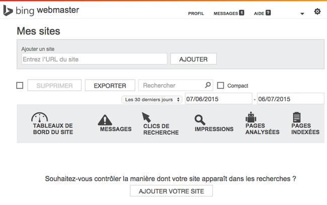 Capture d'écran de la page d'accueil de Bing Webmaster.