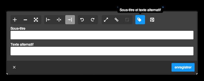 Le menu texte alternatif et description dans un élément image Jimdo.