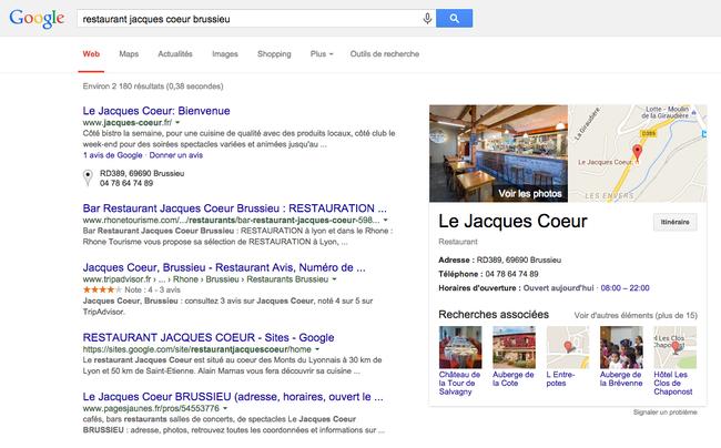 Capture d'écran d'une page de résultat utilisant des infos de Google My Business