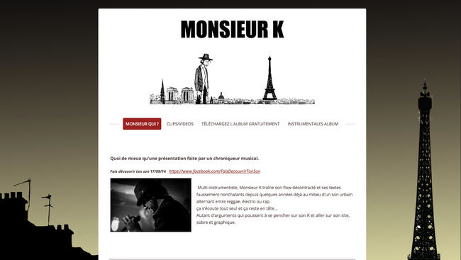 Site Jimdo http://www.monsieurk-officiel.com/ - design Prague