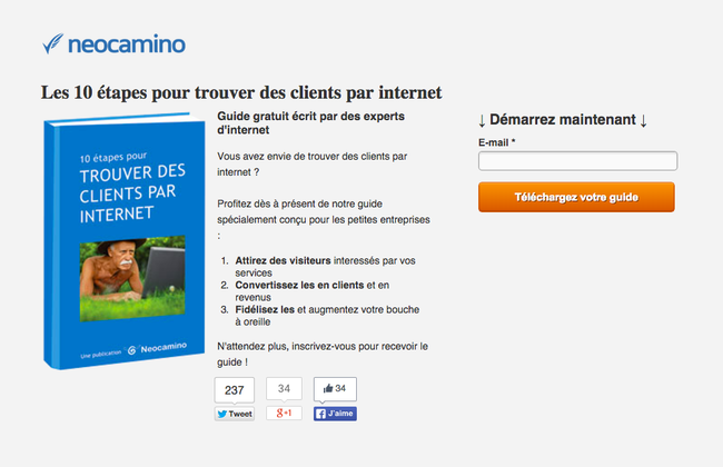 Capture d'une page de conversion