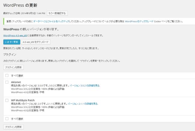 wordpress4.0更新ページ