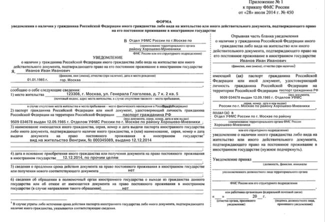 Образец заполнения формы уведомления (лицевая сторона)