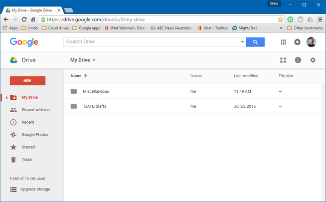 Google Drive webpage interface on my Windows 10 computer