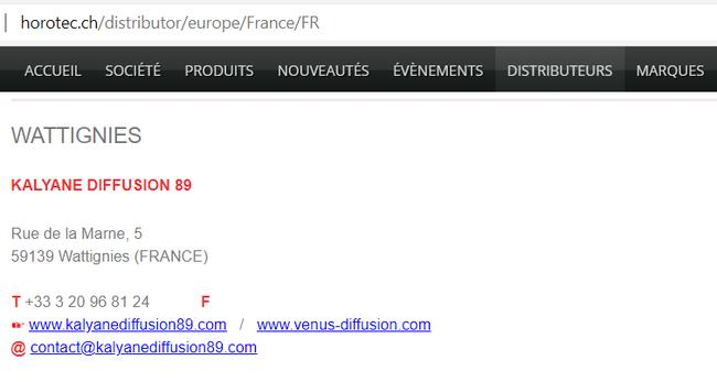 Capture d'écran : http://horotec.ch/distributor/europe/France/FR