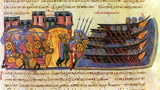 Le sac de Thessalonique par les Arabes dirigés par Léon de Tripoli en 904 -  manuscrit Skylitzès de Madrid. par les pirates arabes au sein de la mer Égée sous le règne de Léon VI. Temple de Paris