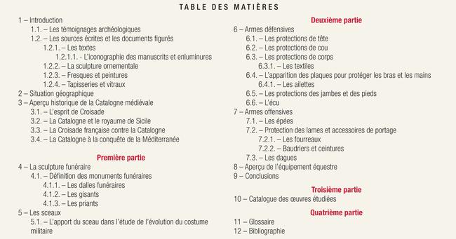 Sommaire LE COSTUME MILITAIRE MÉDIÉVAL - Sylvain Vondra- Édt. Loubatières