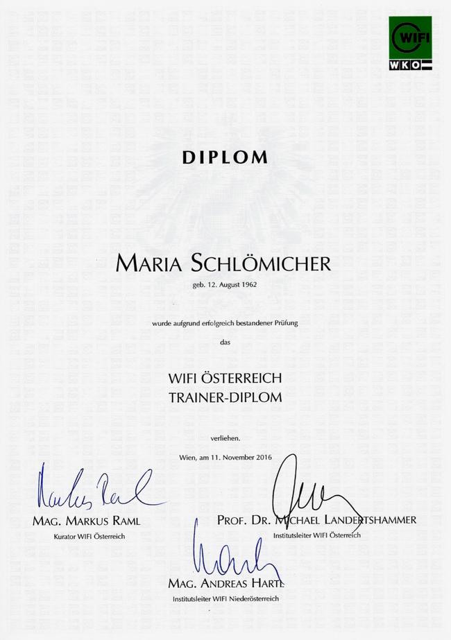 WIFI Trainer Diplom der Wirtschaftskammer Niederösterreich