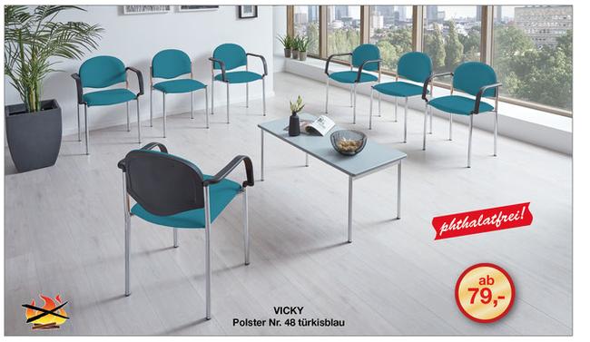 Das hygienische Wartezimmer-Banksystem VICKY mit seiner sicheren Konstruktion  kann mit den passenden Wartezimmerstühlen aus dem VICKY-Wartezimmerstuhl-Programm von SIMPEX-OBJEKT ergänzt werden.