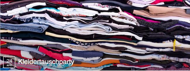 Blog, Bild zeigt Flyer von Kleidertauschparty in Saarbrücken mit gefalteten Kleidungsstücken