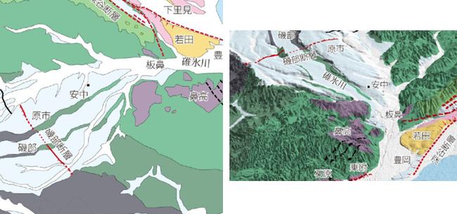 新発見!! 古代碓氷湖は板鼻で決壊したと、碓氷川左右崖の地形、地質から考察されます。