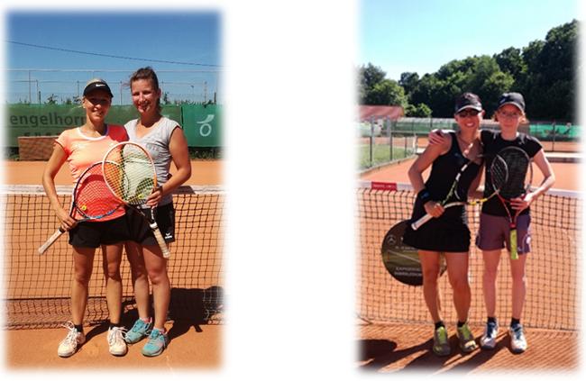 Bild links: Maja und Julia im Spiel um Platz 3   /   Bild rechts: Tanja und Lena im Finale