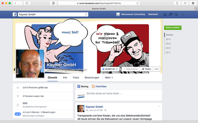 Facebookpräsenz eines Düsseldorfer SHK-Unternehmers