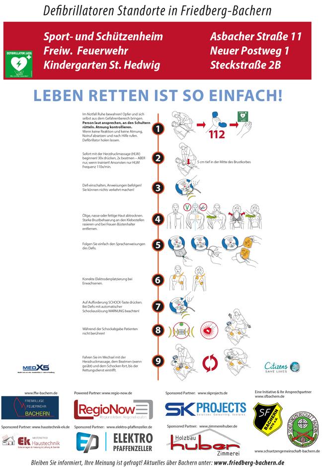 Kampagne Defibrillatoren Standorte Friedberg-Bachern