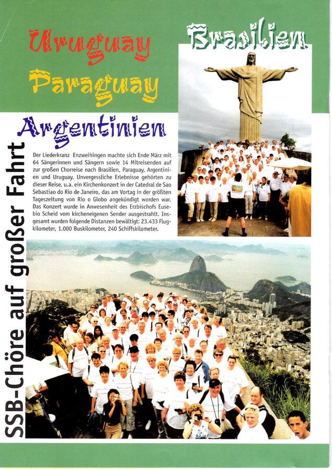 Liederkranz Enzweihingen in Rio des Janeiro - mit Konzerten u.a. in Rio und Blumenau