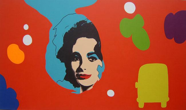 La primera Liz coloreada (Warhol) Feedback serie / Mixed media / 39.3 x 67 in / 2012
