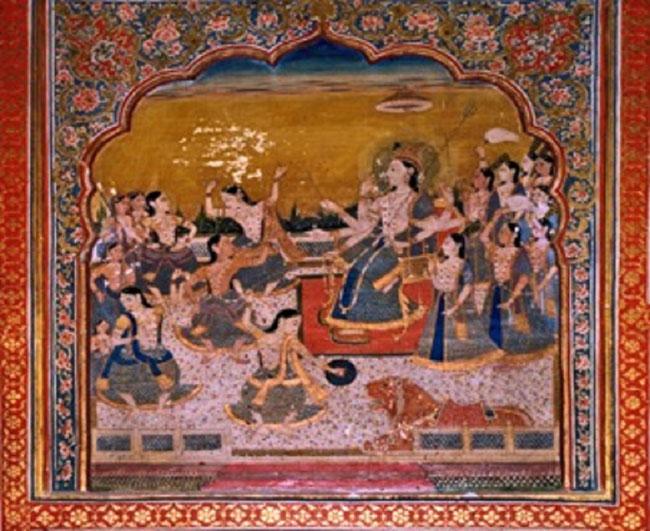LA DEESSE DURGA REGARDANT DES DANSES MARTIALES. Shish Mahal central R-d-c. Qila Andrun.