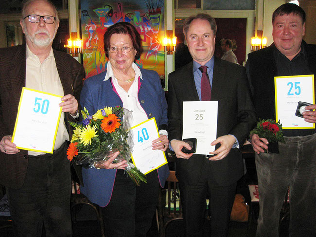 Jubilare beim Neujahrsempfang 2016: Jörg-Uwe Post, Antje Karin Pieper, Michael Saß, Michael Herrmann