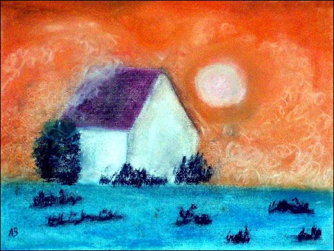 Winterhaus, Pastellgemälde, Winter, Sonne, Haus, Schnee, Büsche, Bäume, Sonnenuntergang, Pastellmalerei, Landschaftsbild, Pastellbild