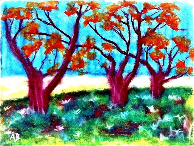 Bäume am Feld, Pastellmalerei, bäume, Feld, Wiese, Blümen, Gras,Landschaftsbild, Pastellgemälde, Landschaft, Pastellbild