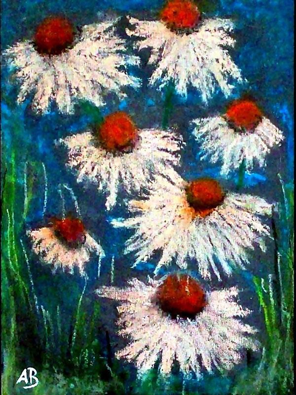 Daisy Flowers-Gänseblümchen-Pastellmalerei-Blumen-Stillleben-Blumenbild-Moderne Malerei-Pastellbild-Pastellgemälde