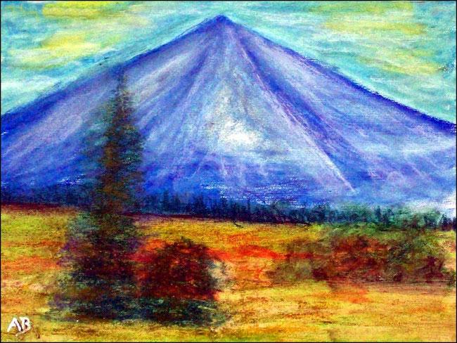 Berglandschaft, Ölpastellgemälde, Berg, Bäume, Wald, Tannen, Fichten, Wiese, Büsche, Blumen, Ölpastellmalerei, Landschaftsbild