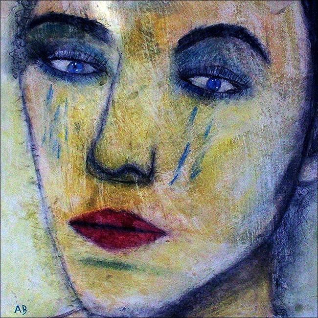 Abstraktes Frauenportrait, Pastellgemälde, Portrait, Frau, Girl, Feminin, Pastellbild, Moderne Malerei, Pastellmalerei